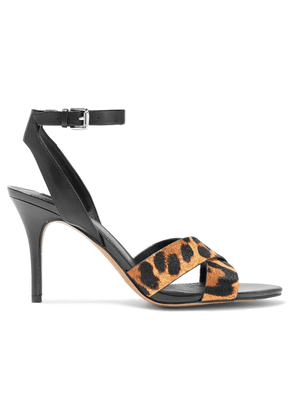 Dkny Ivy Leopard-print Calf Hair And Leather Sandals Woman Black Size 7