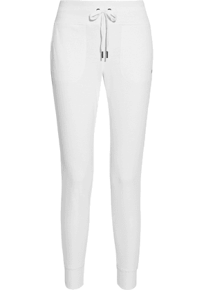 Dkny Glitter-embellished French Cotton-blend Terry Track Pants Woman White Size XS