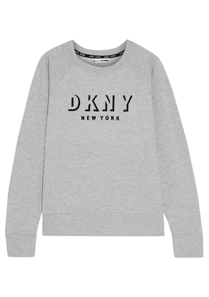 Dkny Flocked French Cotton-blend Terry Sweatshirt Woman Light gray Size S