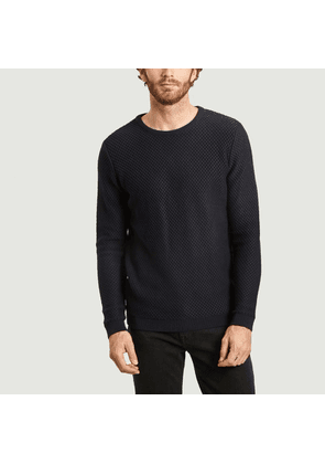 Field honeycomb knit organic cotton sweater Total eclipse Knowledge Cotton Apparel