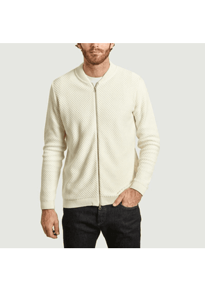 Field honeycomb knit organic cotton zipped cardigan Blanc Knowledge Cotton Apparel