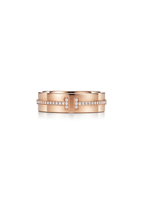 Tiffany T wide diamond ring in 18k rose gold, 5.5 mm wide - Size 9 1/2