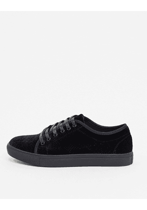 Truffle Collection velvet snake plimsoll in black