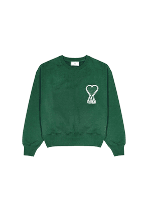 AMI Green Logo-appliquéd Cotton Sweatshirt