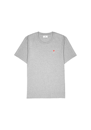 AMI Grey Mélange Logo Cotton T-shirt