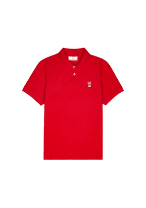 AMI Red Logo Cotton Polo Shirt