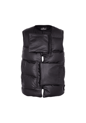 Stone Island Shadow Project Indigo Quilted Leather Gilet