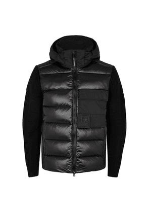 C.P. Company Black Quilted Shell And Wool-blend Jacket