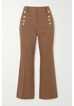 Derek Lam 10 Crosby - Corinna Cropped Button-embellished Houndstooth Cotton-blend Flared Pants - Tan