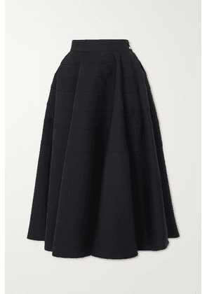 Loewe - Pleated Wool-twill Midi Skirt - Black