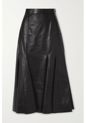 Loewe - Pleated Leather Midi Skirt - Black