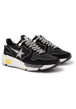 Golden Goose - Distressed Suede, Shell and Mesh Sneakers - Men - Black