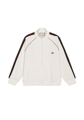 Gucci Track Jacket in Ivory & Green & Red - White. Size S (also in XL).