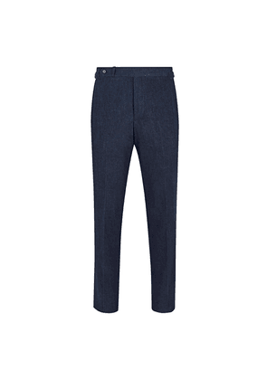 Navy Cotton & Cashmere Stretch Denim Trousers