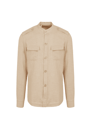 Natural Cotton and Linen Hopsack Over-Shirt