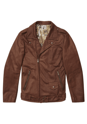 Hopper Brown Waxy Leather Biker Jacket