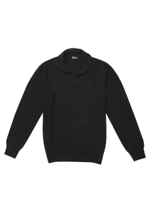 P.P.P. Black Cashmere Long-Sleeved Polo Shirt