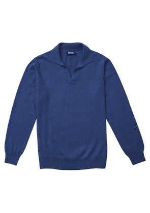 P.P.P. Blue Cashmere Long-Sleeved Polo Shirt