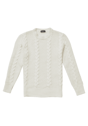 Alfredo Cream Merino Wool Cable Knit Sweater