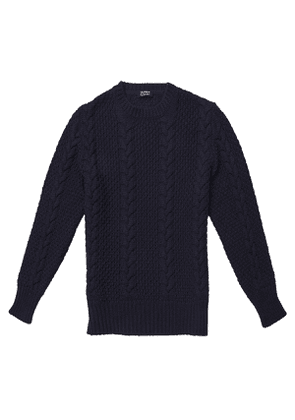 Alfredo Blue Merino Wool Cable Knit Sweater