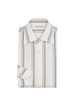 Grey, Blue And White Wide Striped Shirt