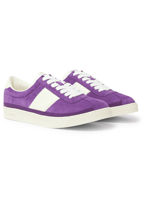 TOM FORD - Bannister Leather-Trimmed Suede Sneakers - Men - Purple