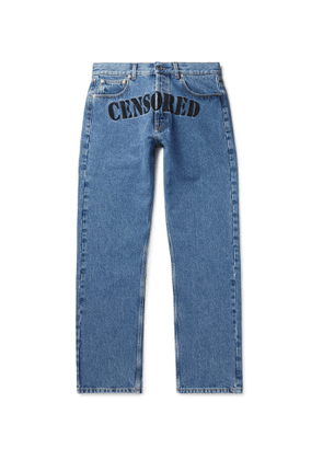 Vetements - Embroidered Denim Jeans - Men - Blue