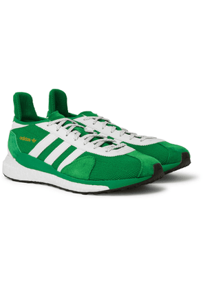 adidas Consortium - Human Made Tokio Solar Leather-Trimmed Mesh and Suede Sneakers - Men - Green