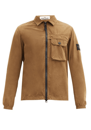 Stone Island - Logo-patch Cotton-canvas Overshirt - Mens - Brown