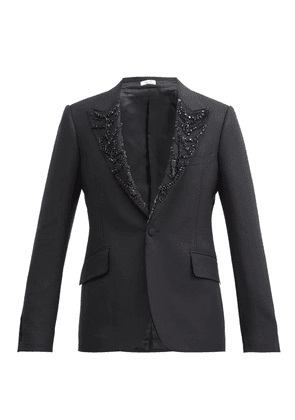 Alexander Mcqueen - Crystal-embellished Wool-blend Tuxedo Jacket - Mens - Black