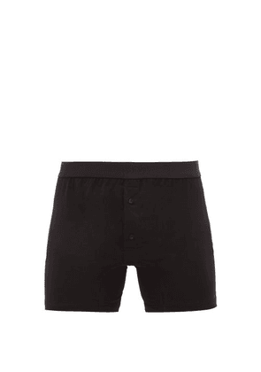 Sunspel - Buttoned Superfine-cotton Boxer Briefs - Mens - Black