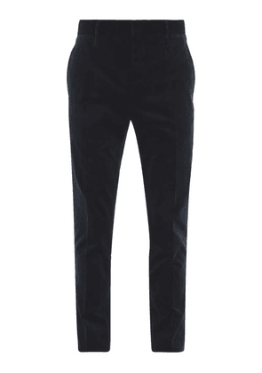 Aldo Maria Camillo - Pleated Slim-leg Velvet Trousers - Mens - Dark Blue