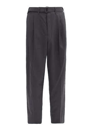 Lemaire - Pleated Twill Straight-leg Trousers - Mens - Dark Grey