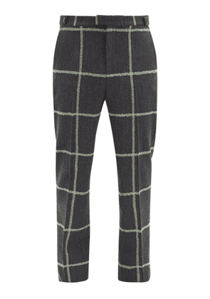 Wales Bonner - Judah Windowpane-check Wool-blend Trousers - Mens - Grey