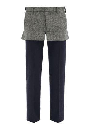 Stefan Cooke - Panelled Wool-tweed Straight-leg Trousers - Mens - Navy