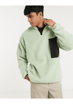 ASOS WHITE oversized zip through borg sweater in mint-Green