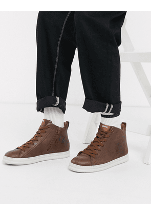 Camper high top runnerfour leather trainer in brown