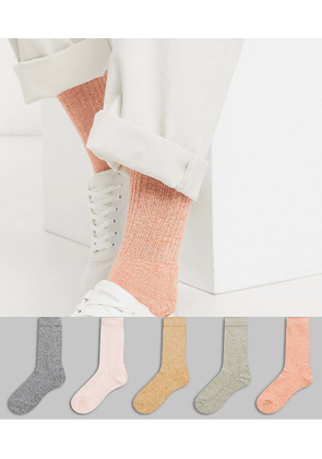 ASOS DESIGN 5 pack sport sock in pastel colours with twisted yarns save-Multi