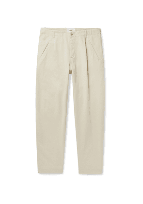Folk - Assembly Pleated Cotton-Twill Trousers - Men - Neutrals