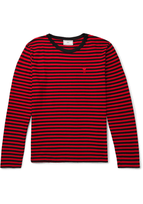 AMI - Logo-Appliquéd Striped Cotton-Jersey T-Shirt - Men - Red