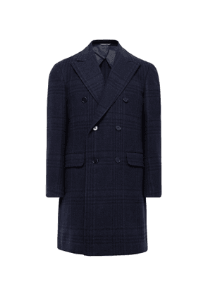 Canali - Double-Breasted Checked Wool and Cashmere-Blend Overcoat - Men - Blue
