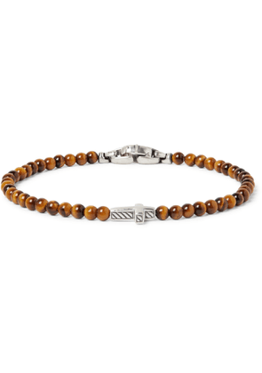 David Yurman - Tiger's Eye Sterling Silver Beaded Bracelet - Men - Brown