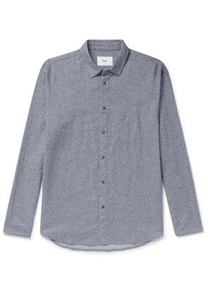 Folk - Slim-Fit Melangé Brushed-Cotton Shirt - Men - Blue