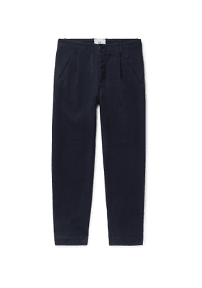 Folk - Assembly Pleated Cotton-Twill Trousers - Men - Blue