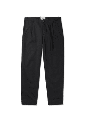 Folk - Assembly Pleated Cotton-Twill Trousers - Men - Black
