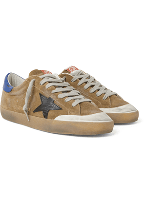 Golden Goose - Superstar Distressed Suede and Leather Sneakers - Men - Brown