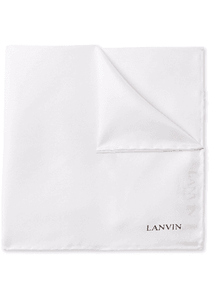 Lanvin - Logo-Print Silk Pocket Square - Men - White