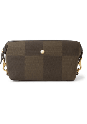 MISMO - Leather-Trimmed Canvas Wash Bag - Men - Green