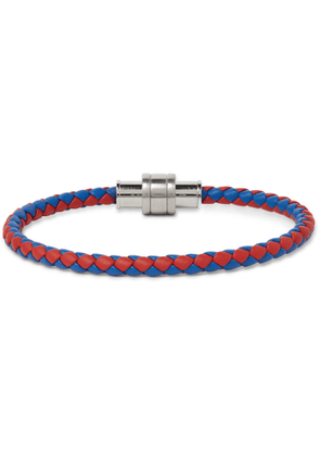 Montblanc - Braided Leather and Stainless Steel Bracelet - Men - Red