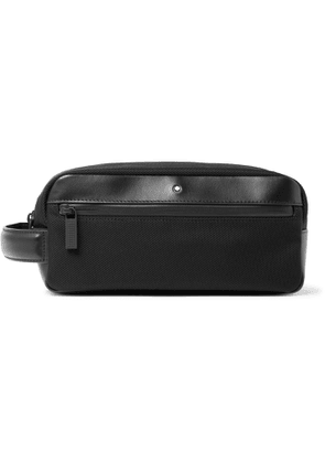 MONTBLANC - Nightflight Leather-Trimmed Canvas Wash Bag - Men - Black